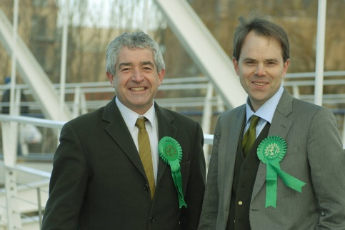 Rupert Read with Tony Juniper by the River Cam. Tony, the Greens' candidate in 2010, is personally backing Rupert's MP campaign