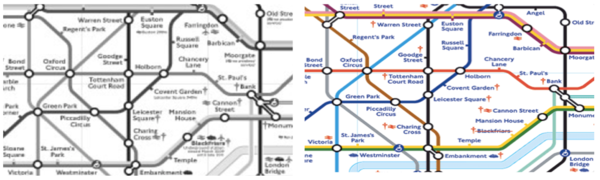 Black and white picture of the London tube map VS a colored picture of the London tube map